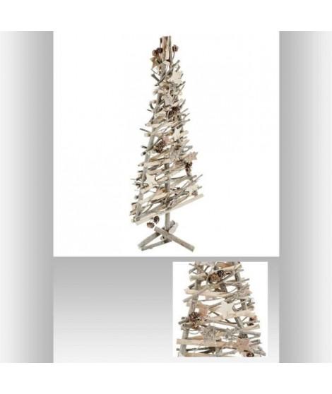 FEERIC LIGHTS & CHRISTMAS Sapin en bois a poser avec des branches et de la décoration dessus - 57 cm