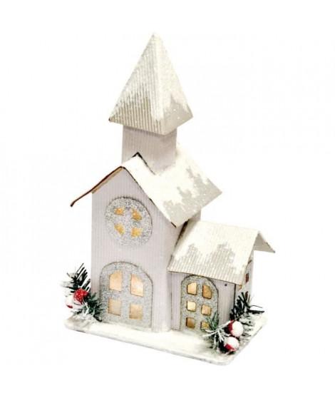 AUTOUR DE MINUIT Eglise en carton - LED - Blanc argent