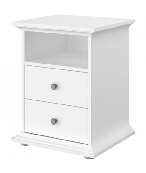MANON Chevet 2 tiroirs Blanc - L 45 x P 58 x H 41 cm