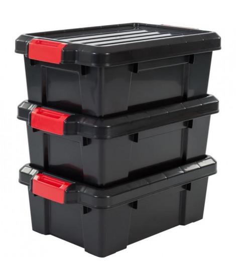 IRIS OHYAMA Lot de 3 boîtes de rangement avec fermeture clic - Power Box - SK-130 - Plastique - Noir - 12,5 L - 46 x 29,7 x 1…