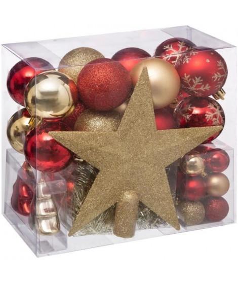 FEERIC LIGHTS & CHRISTMAS Kit de 44 pieces de boules de Noël