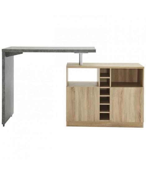 POLY Table bar style contemporain décor béton et décor chene - L 126 x l 52 cm
