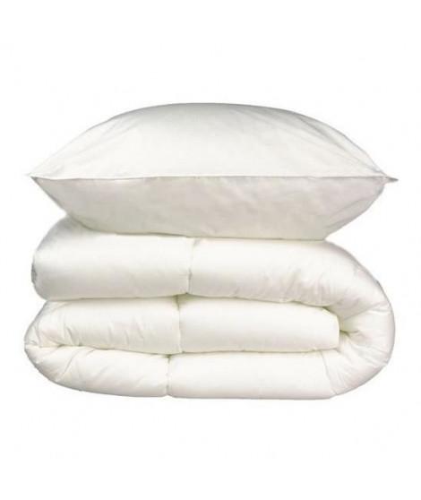 Pack linge de lit Microfibre - 1 Couette chaude 140x200 cm + 1 Oreiller 60x60 cm blanc
