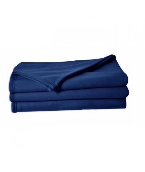 POLUNO Couverture maille polaire 180x220 cm bleu