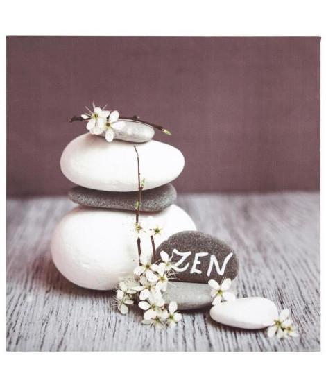 Toile imprimée zen - 28 x 25 cm - Blanc