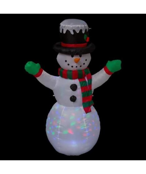 FEERIC LIGHTS & CHRISTMAS Automate de Noël Bonhomme de neige gonflable lumineuse - Effet discotheque - 120 cm
