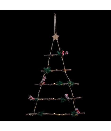 FEERIC LIGHTS & CHRISTMAS Décoration a suspendre intérieur Sapin Bois - H 63 cm - Lumineux