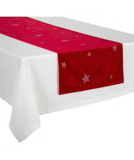 FEERIC LIGHTS & CHRISTMAS Chemin de table en velours - 40 cm x 2 m - Rouge