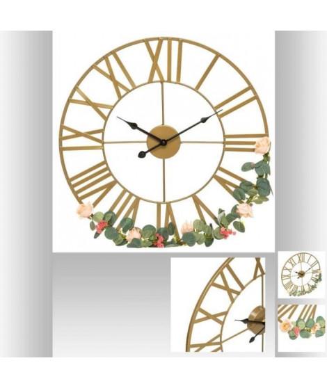 Horloge en métal Vintage Fleur - Ø50 cm