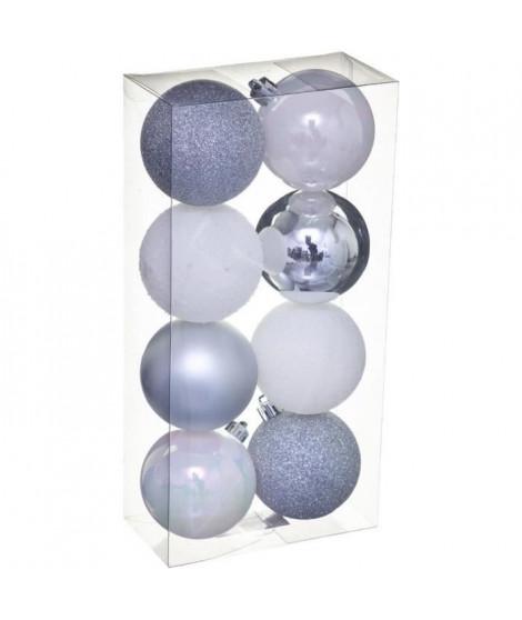 FEERIC LIGHTS & CHRISTMAS Kit de 8 boules de 70 mm - Argent et blanc