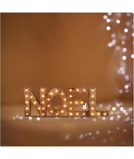 Décoration a poser Lumineuse Noël Couleur Bois - 41 LED - Blanc chaud