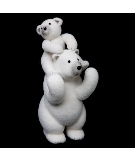 FEERIC LIGHTS & CHRISTMAS Ours blanc + 2 bebes en polystyrene - H 52 cm