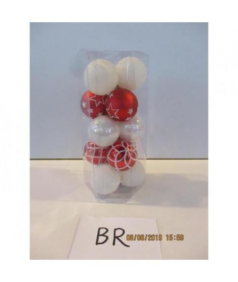 FEERIC LIGHTS & CHRISTMAS 15 Boules de Noël - 50 mm - Rouge et blanc