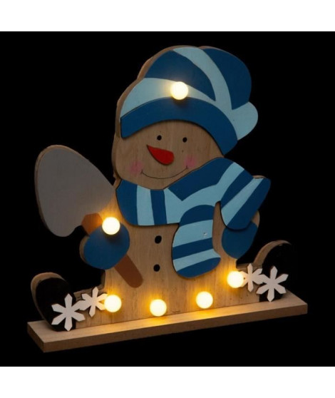 FEERIC LIGHTS & CHRISTMAS Décoration a poser intérieur Bonhomme de neige en bois - 6 LED - H 25 cm