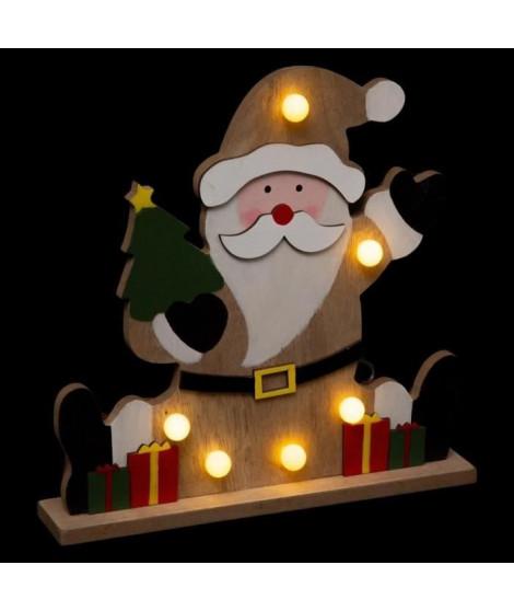 FEERIC LIGHTS & CHRISTMAS Décoration a poser intérieur Pere Noël Bois - 6 LED - H 25 cm