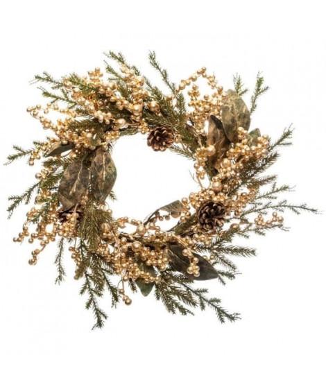 FEERIC LIGHTS & CHRISTMAS Couronne branche perles - Ø45 cm