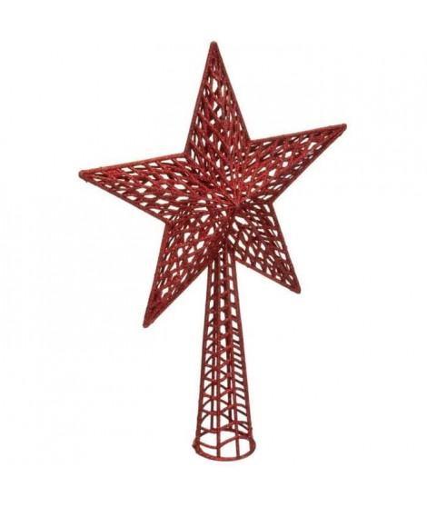FEERIC LIGHTS & CHRISTMAS Cimier Etoile pailleté - H 38 cm - Rouge