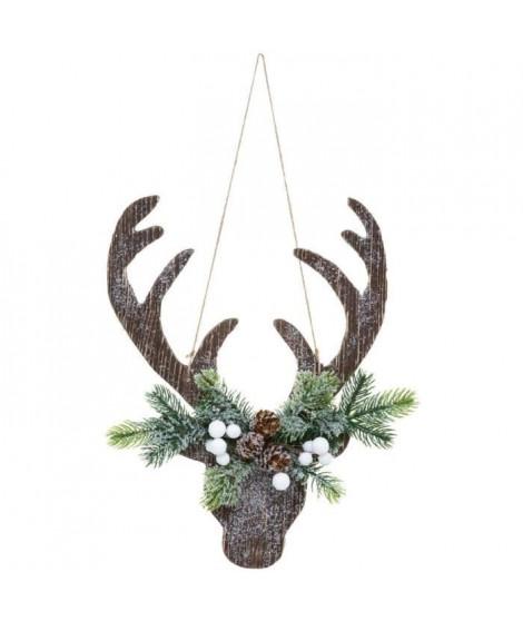 FEERIC LIGHTS & CHRISTMAS Suspension Tete de Renne avec branche - 34 cm