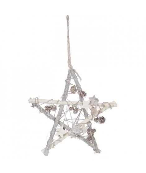 FEERIC LIGHTS & CHRISTMAS Suspension de Noël Etoile et pommes de pin en bois - 28 cm