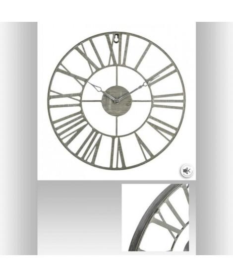 Horloge en métal vintage - Ø36,5 cm - Gris