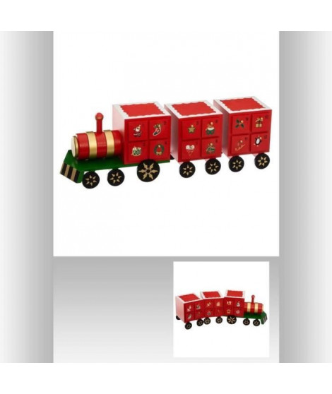 FEERIC LIGHTS & CHRISTMAS Calendrier de l'Avent Bois Train - L 48 cm