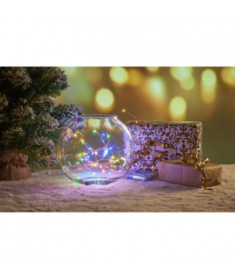 Guirlande filaire de Noël 40 mini-LED intérieure - 2 m - Multicolore
