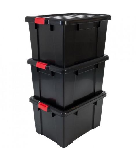 IRIS OHYAMA Lot de 3 boîtes de rangement avec fermeture clic - Power Box - SK-700 - Plastique - Noir - 68 L - 63,5 x 44,6 x 3…