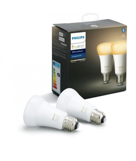 PHILIPS HUE Pack de 2 ampoules White Ambiance - 9,5 W - E27 - Bluetooth