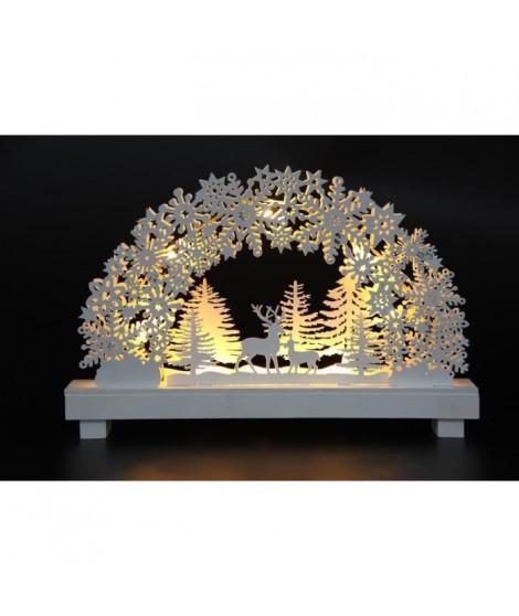 FEERIC LIGHTS & CHRISTMAS Décoration a poser intérieur Village Bois - 8 LED - H21cm