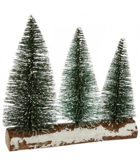 FEERIC LIGHTS & CHRISTMAS Sapin de table - 3 sapins sur une branche - H 22 cm