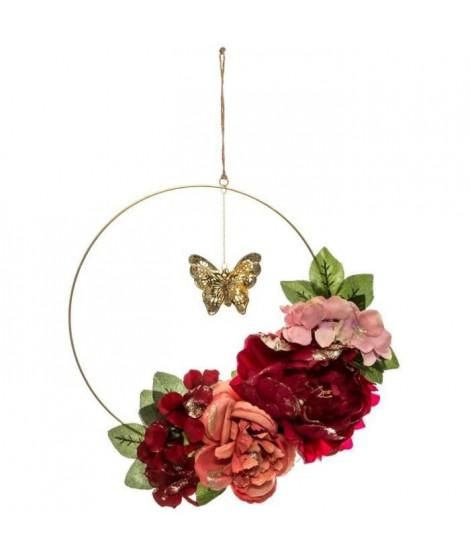 FEERIC LIGHTS & CHRISTMAS Couronne Fleurs et papillons - Ø35 cm