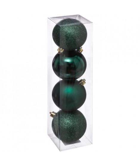 FEERIC LIGHTS & CHRISTMAS 4 Boules de Noël - 80 mm - Vert bouteille