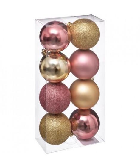 FEERIC LIGHTS & CHRISTMAS 8 Boules de Noël - 70 mm - Rose or