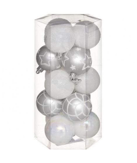 FEERIC LIGHTS & CHRISTMAS 15 Boules de Noël - 50 mm - Argent et blanc