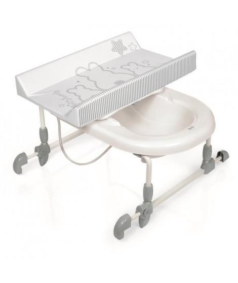 BREVI Table a langer + Baignoire Bagnotime Lapinou perle