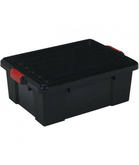 IRIS OHYAMA Lot de 3 boîtes de rangement avec fermeture clic - Power Box - SK-230 - Plastique - Noir - 25 L - 59 x 38, 5 x 18 cm
