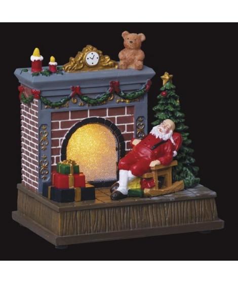 FEERIC LIGHTS & CHRISTMAS Village de Noël Cheminée de Pere Noël - Lumineux - H17cm