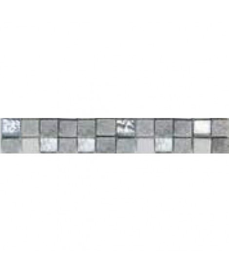 Listel en pate de verre et carrelage  Ures - 5 x 30 cm - Gris