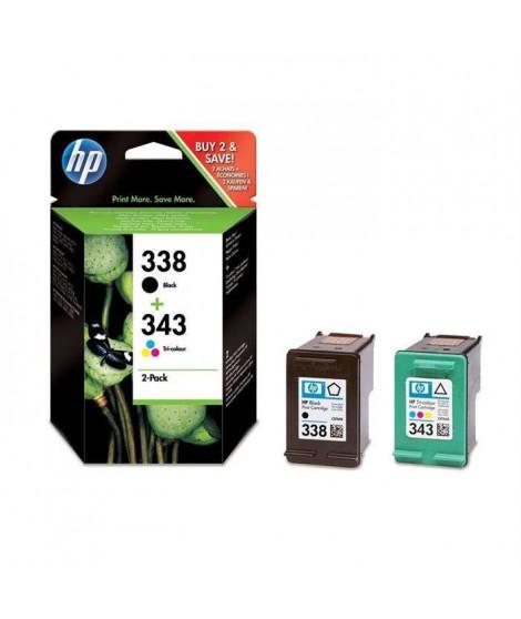 HP 338/HP 343 pack de 2 cartouches d'encre authentiques pour HP Photosmart 2570/C3170 et HP PSC 1510/1600 (SD449EE)