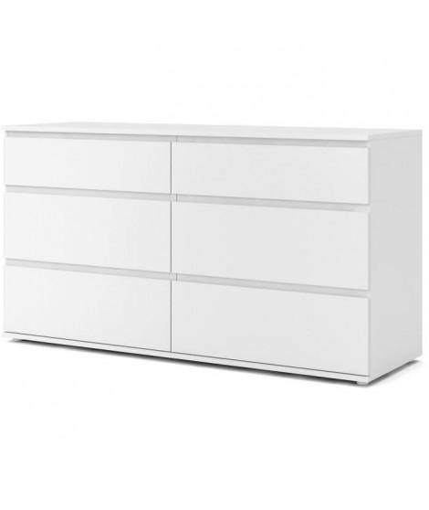 Commode 6 tiroirs - Décor blanc - L 153,4 x P 50 x H 83,70 cm - OMAHA