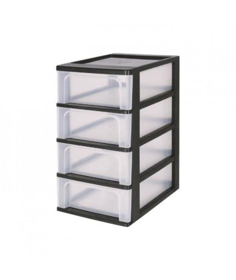 IRIS OHYAMA Tour de rangement 4 tiroirs - Plastique - Noir - 28 L - 35,5 x 26 x 49 cm