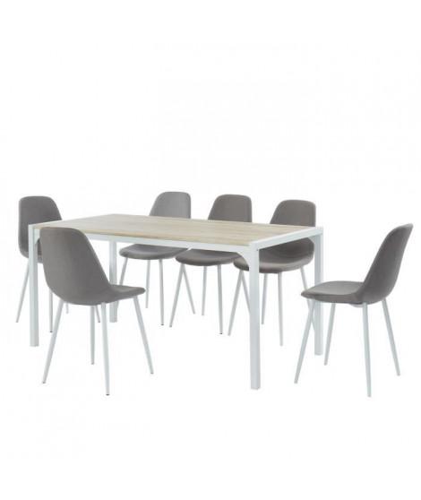 Ensemble Table a manger + 6 chaises tissu gris - Bois et blanc - L 160 x P 80 x H 75cm - ALPHA