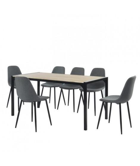 Ensemble Table a manger + 6 chaises tissu anthrachite - Bois et noir - L 160 x P 80 x H 75cm - BAKO