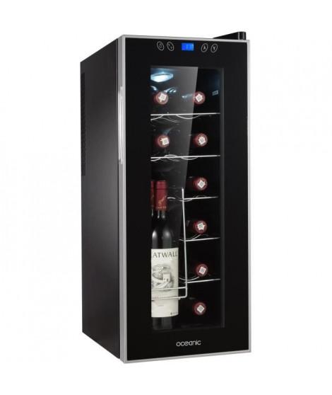 OCEANIC OCEACWC12LCD - Cave a vin de service - 12 bouteilles - Pose libre - Classe A - L 26 x H 65 cm - Noir + Cadre Silver