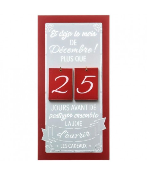 FEERIC LIGHTS & CHRISTMAS Suspension Calendrier de l'avent en bois - 40 x 20 cm