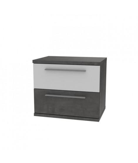 Chevet 2 tiroirs - Blanc et béton gris foncé - L 50,1 x P 34,7 x H 44,7 cm - JULIETTA