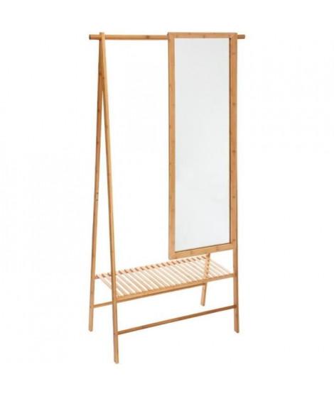 FIVE Portant a vetements Gaia avec miroir en bambou