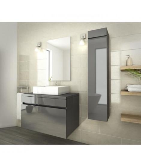 LUNA Ensemble salle de bain simple vasque L 80 cm - Gris verni