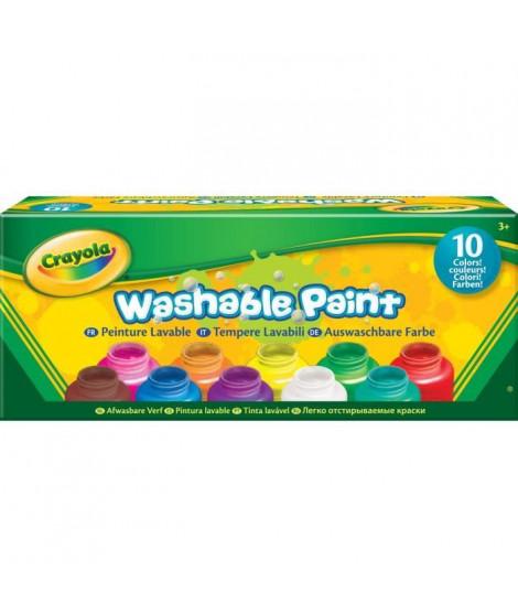 Crayola - 10 pots de peinture lavable - boîte française - Peinture et accessoires