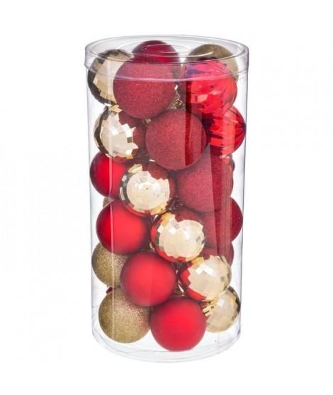 FEERIC LIGHTS & CHRISTMAS Kit de 30 boules de 60 mm - Rouge et or